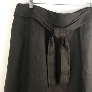 TALBOTS Irish linen chocolate brown skirt 22W
